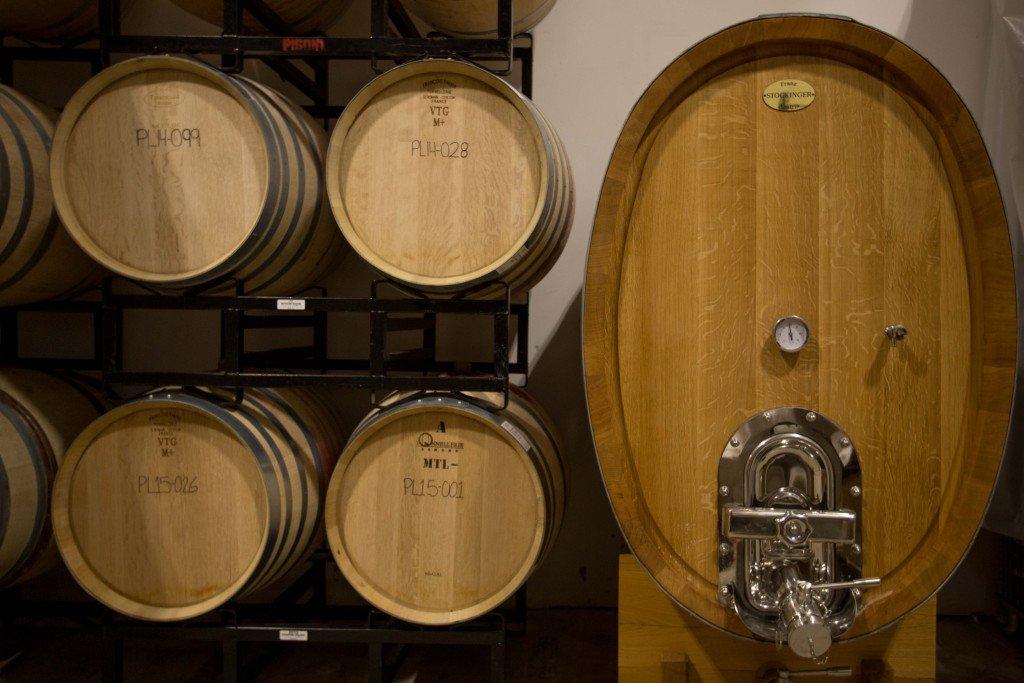 Barrels of various sizes at Pisoni Vineyards