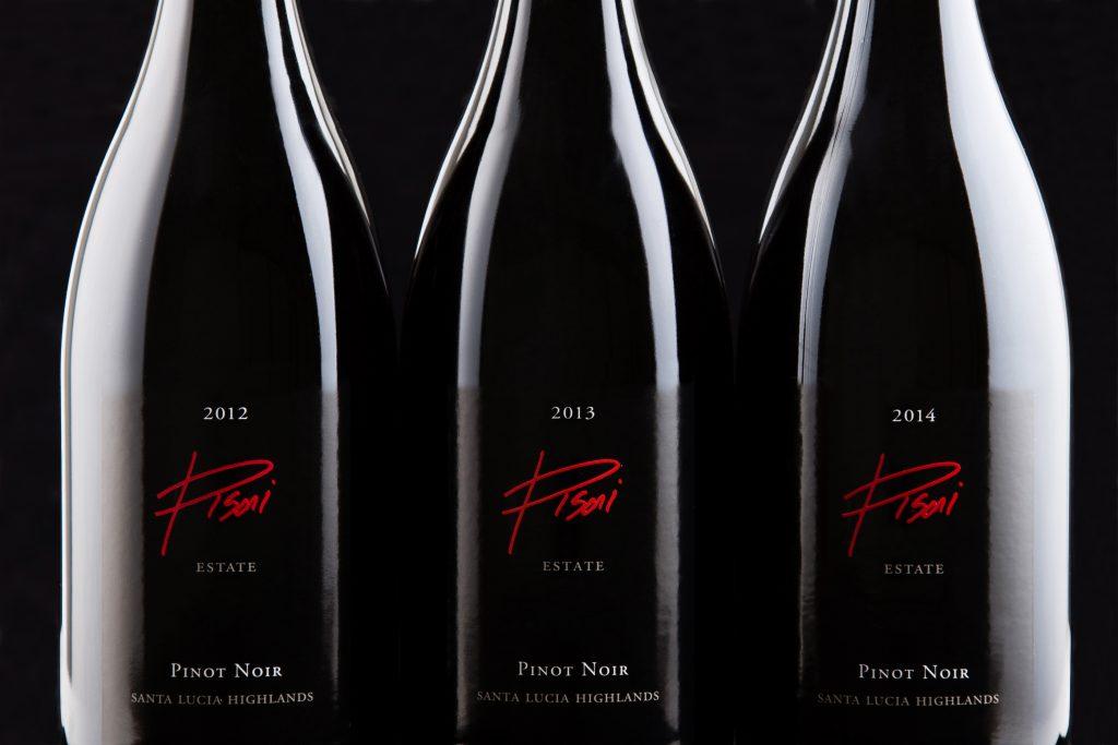 2012, 2013, and 2014 Pisoni Estate Pinot Noir bottles