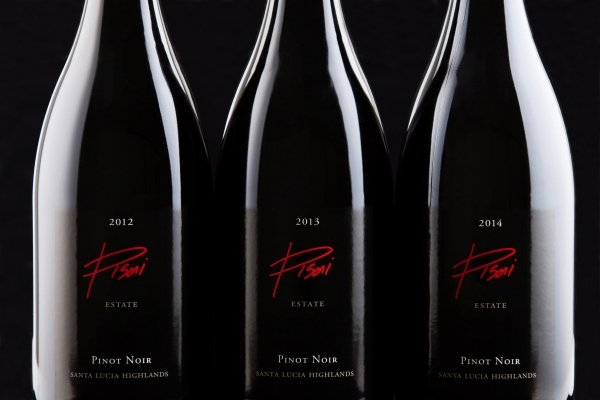 2012, 2013, and 2014 Pisoni Estate Pinot Noir bottles