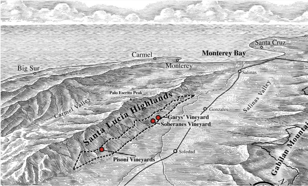 Diagram showing the location of Garys' Vineyard, Soberanes Vineyard, and Pisoni Vineyards