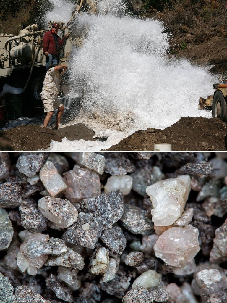 "Above, Top: Striking water at Gary's ""miracle well"" deep under the vineyard floor. Above, bottom: Fragments of the granite rock that surfaced during the well drilling"