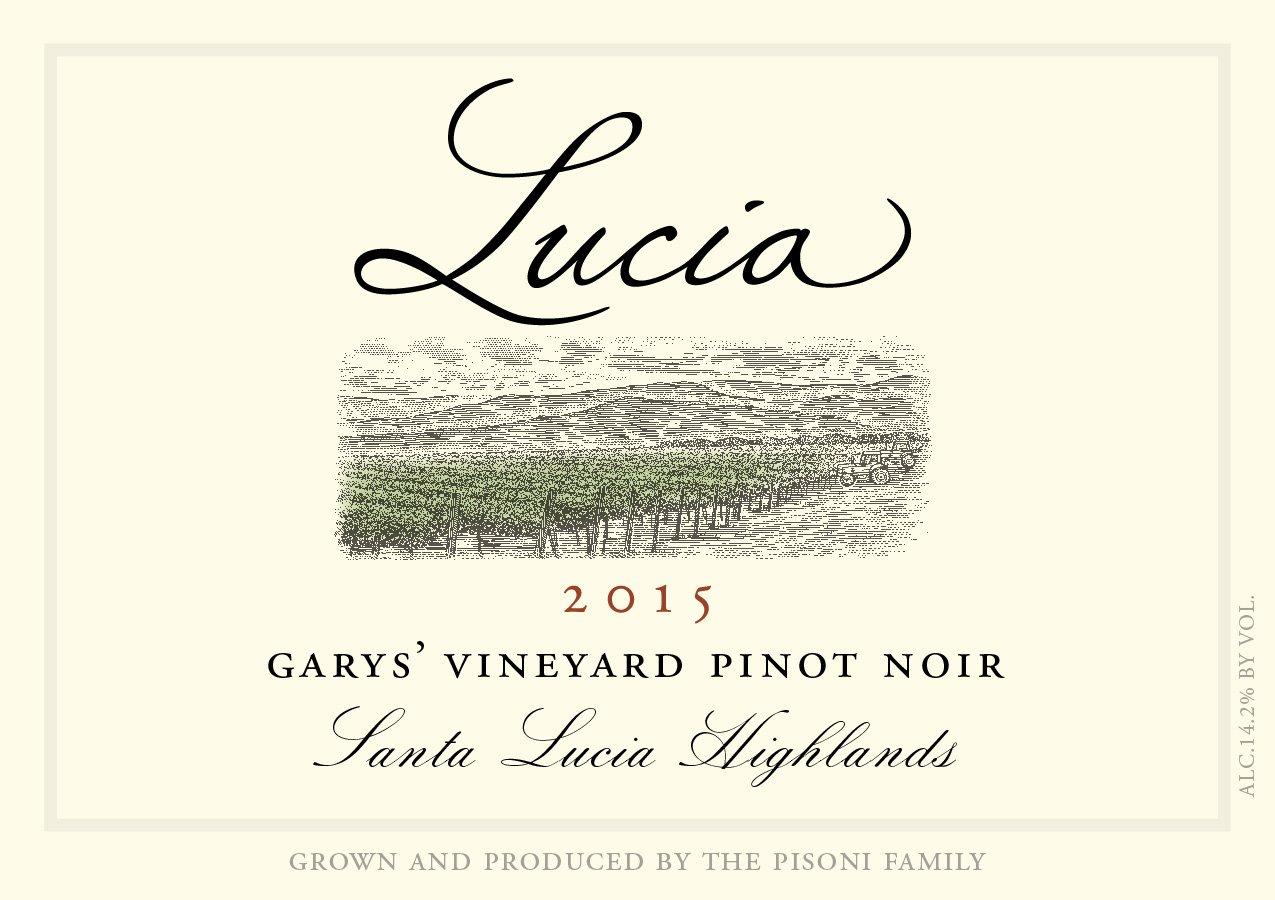 Lucia 2015 Garys' Vineyard Pinot Noir label