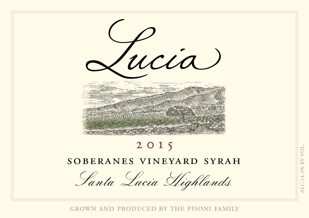 Lucia 2015 Soberanes Vineyard Syrah label