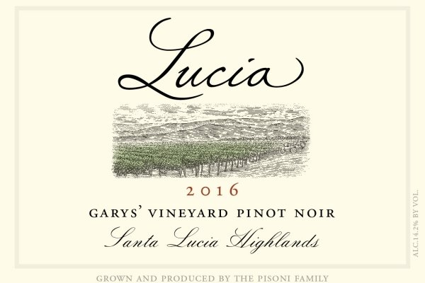 Lucia 2016 Garys' Vineyard Pinot Noir label
