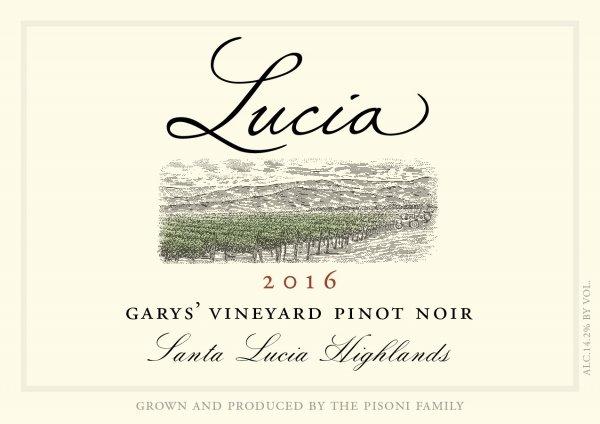 Lucia 2016 Garys' Vineyard Pinot Noir label