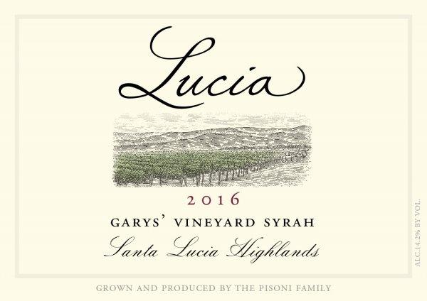 Lucia 2016 Garys' Vineyard Syrah label