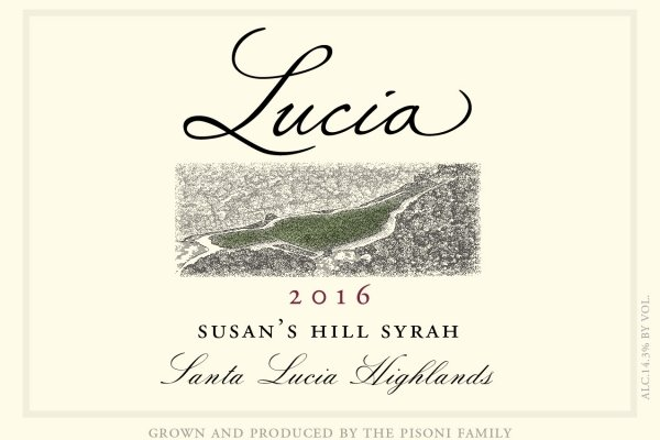 Lucia 2016 Susan's Hill Syrah label