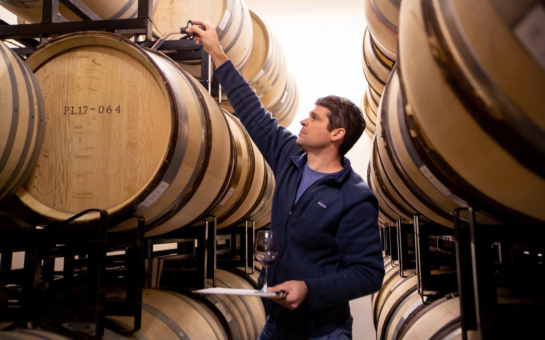 Jeff Pisoni barrel tasting in the cellar