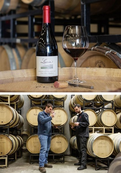 Photos, top to bottom: A bottle of Lucia Soberanes Vineyard Pinot Noir in the wine cellar. Winemaker Jeff Pisoni and assistant winemaker Alex Forster evaluate wines from barrel.