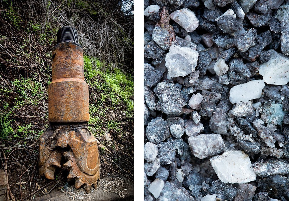 A drill bit used to drill the wells on the Pisoni property, and crushed granite from the soil.