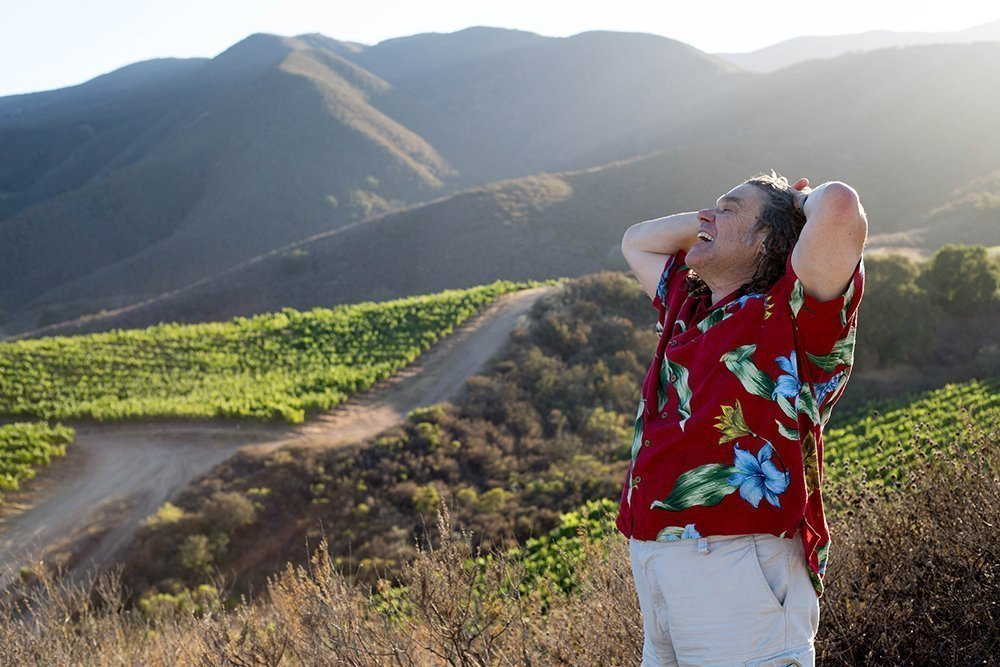 Gary Pisoni overlooking his green vineyards.
