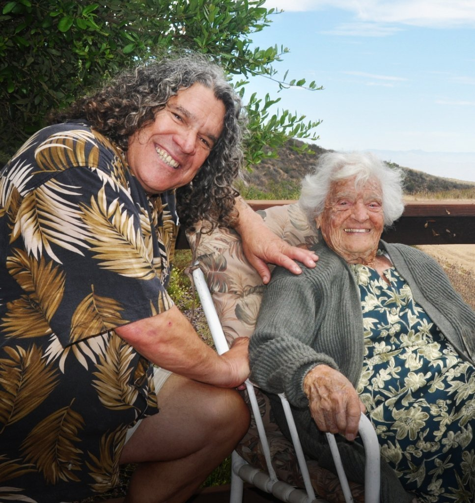 Gary Pisoni poses with his mother at the Pisoni ranch.